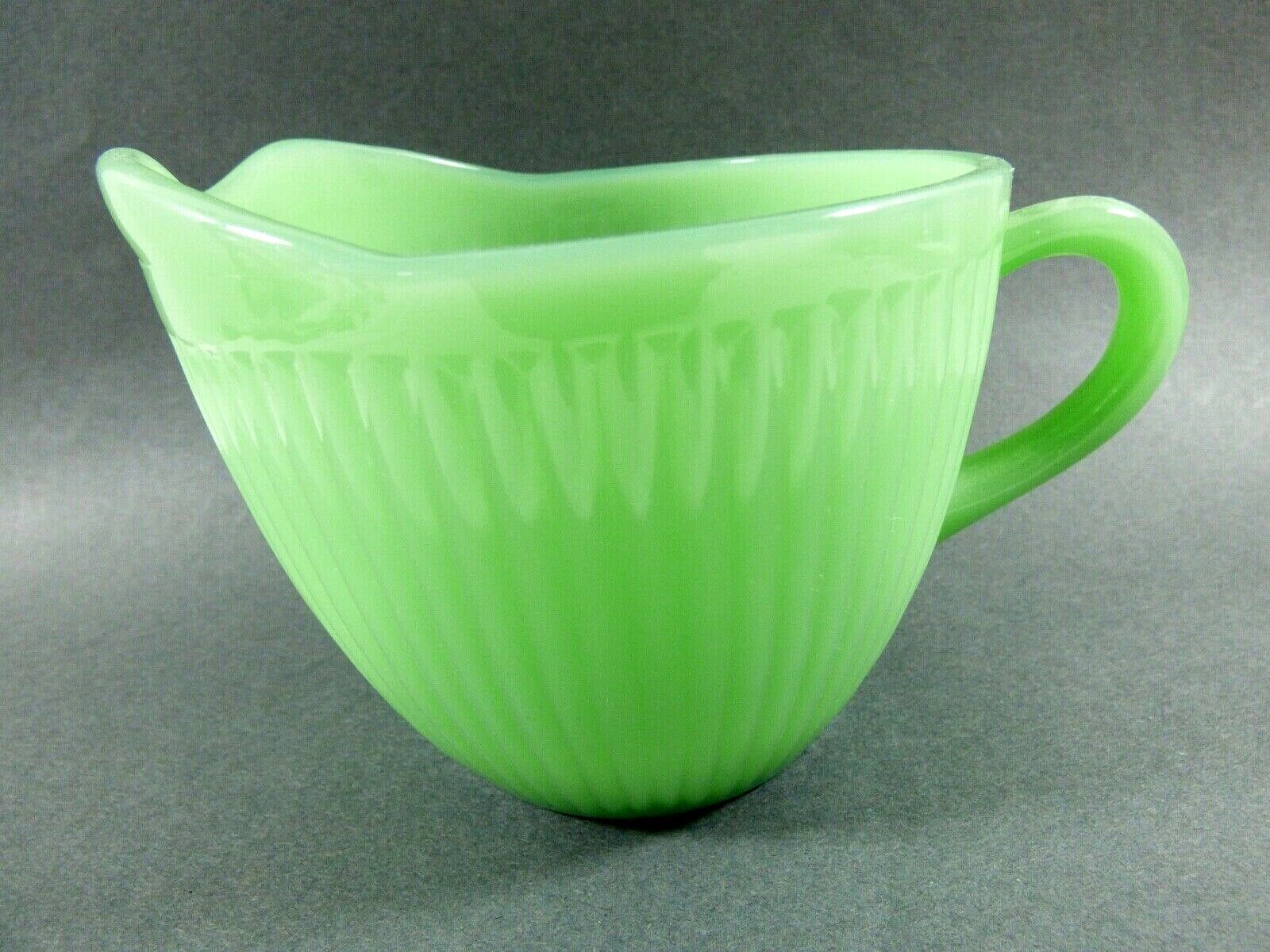 Primary image for VTG Fire King Jade-ite Jane Ray pattern green glass Creamer Anchor Hocking