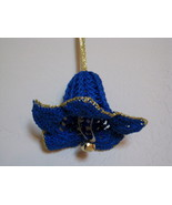 "Decor Flower Ornament crochet 4""x3"" Set of 3 - blue & gold w/ bell - $19.95"