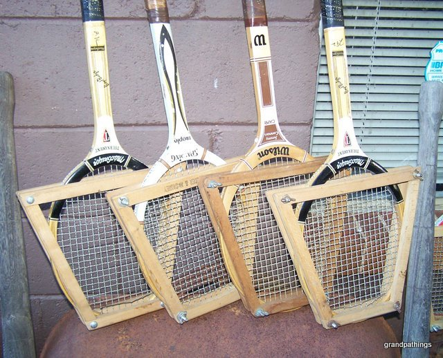 wooden Tennis Racquets & Press Lot of 8 Old