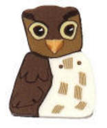 "Medium Owl 1187m handmade clay button .5""h  JAB... - $3.00"