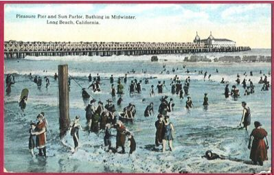Long Beach California Pier Sun Parlor Bathing Beauties Postcard