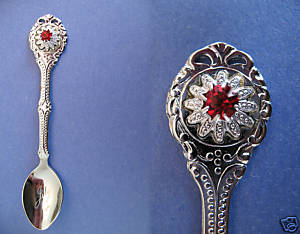 JULY BIRTHDAY Souvenir Collector Spoon Collectible RED Ruby Birth Stone