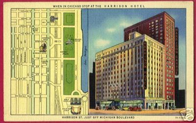 Primary image for CHICAGO ILLINOIS Harrison Hotel St Map Linen IL