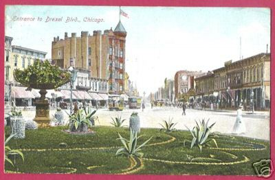 CHICAGO IL Drexel Blvd Trolleys 1910 Postcard BJs