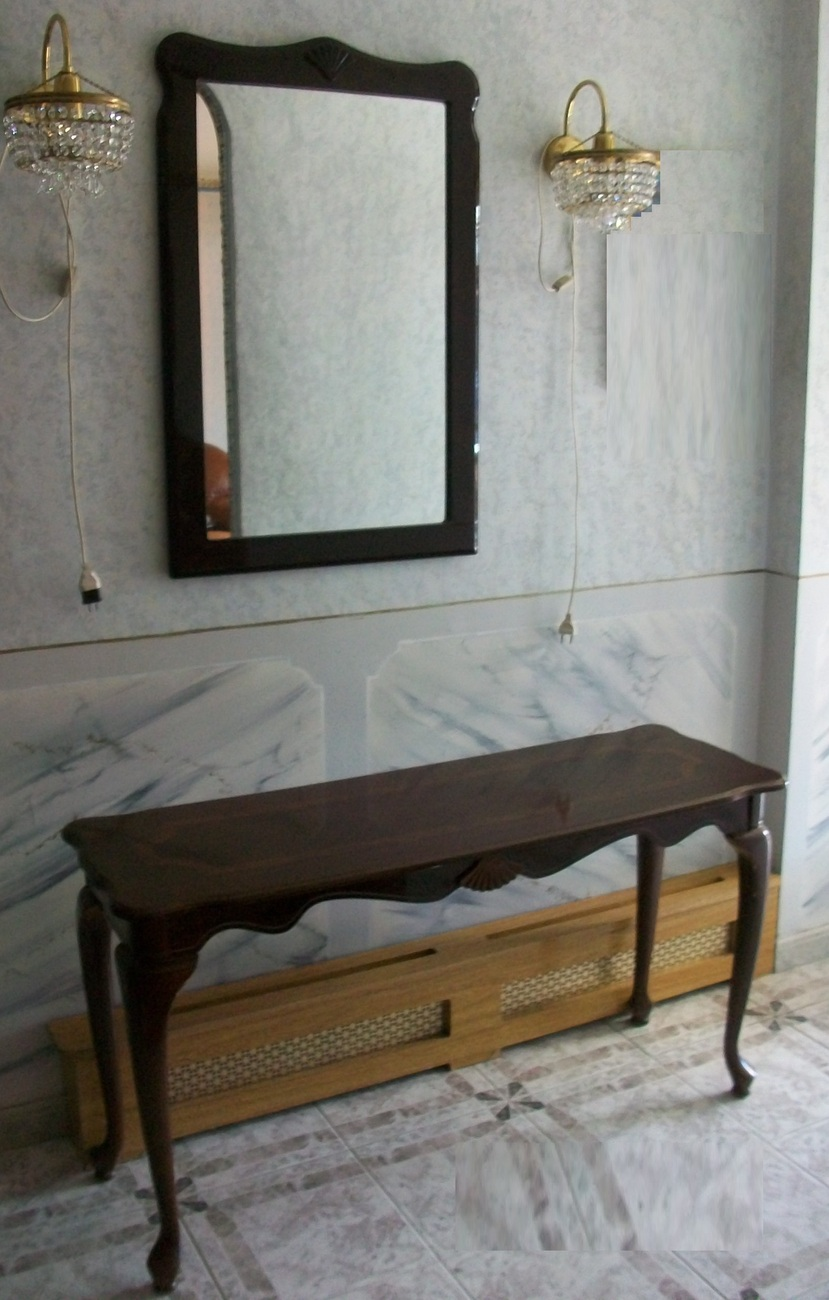 Mahagony wood set: mirror, console and end tables