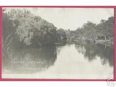 SPENCER IOWA River Scene RPPC Davis Photo 1908