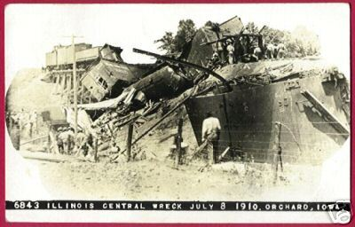 ORCHARD IOWA Illinois Central Train Wreck 1910 RPPC