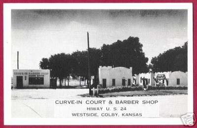 COLBY KANSAS Curve In Court Barber Shop Hwy 24 B&W PC