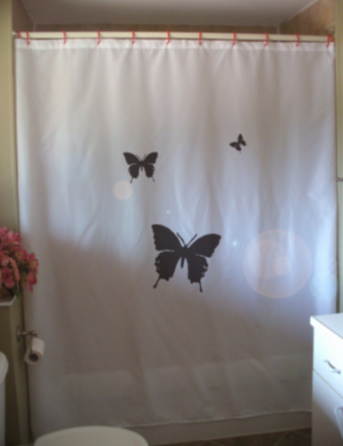 Shower Curtain 3 butterflies flutter by fly high in sky