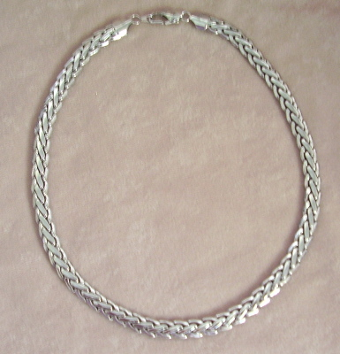 Silver Tone Heavy Link Choker Necklace