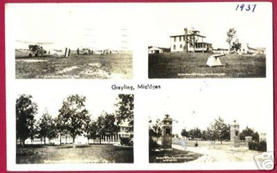 GRAYLING MICHIGAN Camp Planes Hanson Military RPPC MI