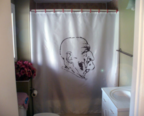 Printed Shower Curtain Bald Man of Milan face Leonardo Da Vinci art history