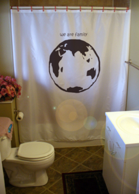 Printed Shower Curtain Earth Indian Ocean Africa We Are Family map planet world