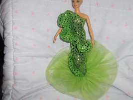 Lime Green Glitter Dot Ruffled Mermaid Style Gown fits Barbie and most F... - $5.95