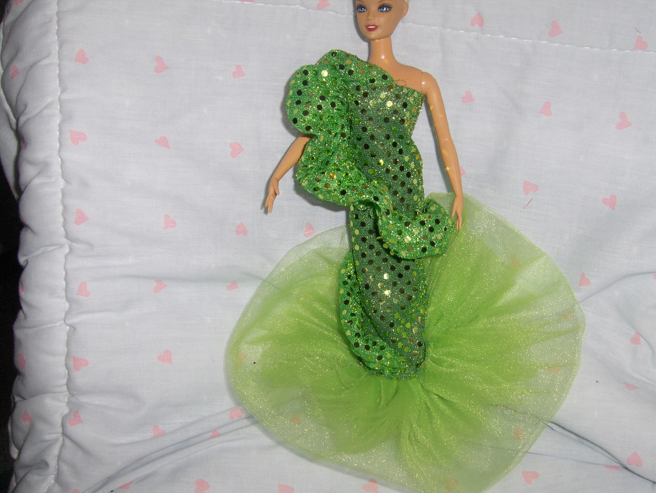 Lime Green Glitter Dot Ruffled Mermaid Style Gown fits Barbie and most Fashion D