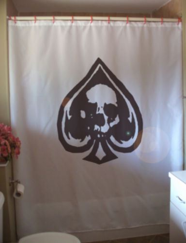 Printed Shower Curtain ace of spades playing card skull spade curse death