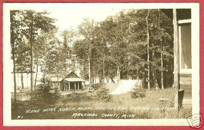 Mackinac Co MI N Miami Hunting Fishing Camp UP RPPC