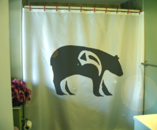 Printed Shower Curtain bear native symbol shoulder art design artistic