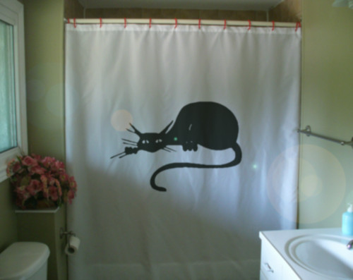 Printed Shower Curtain black cat art deco nouveau vintage look artistic