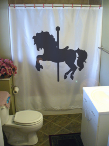 Printed Shower Curtain carousel horse ride roundabout fair kids party fairground