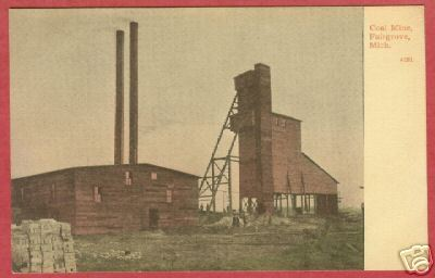 Fairgrove MI Coal Mine Tuscola Co Michigan Postcard BJs