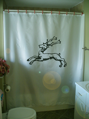 Printed Shower Curtain cerf courant running stag heraldry deer history