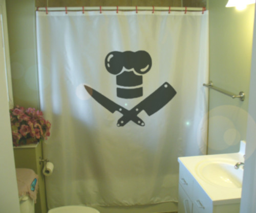 Printed Shower Curtain chef pirate hat knife meat cleaver sharp funny humor