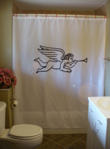 Printed Shower Curtain cherub trumpet wing child love cherubim old fashioned