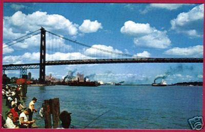 Detroit Mi Ambassador Bridge Fishing Postcard BJs