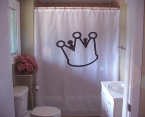 Printed Shower Curtain cool crown cartoon royal prince princess kids