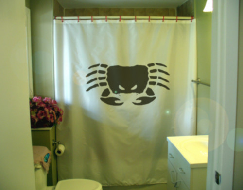 Printed Shower Curtain crab angry mean crustacean shell claw sea creature