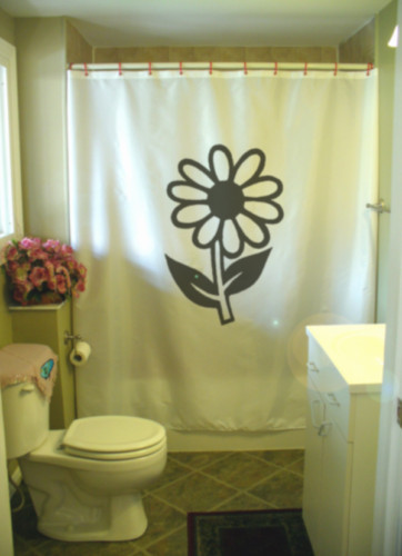 Printed Shower Curtain daisy flower petal bloom stem leaf flora nature