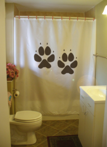 Shower Curtain dog paw print canine pad paws claw foot
