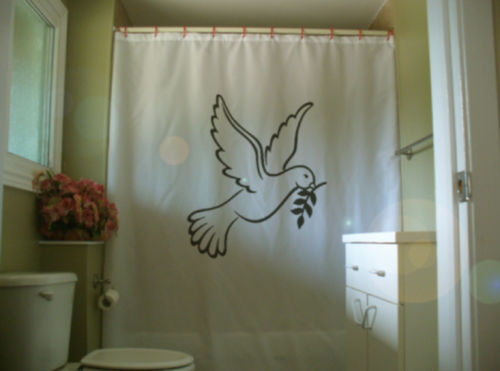 Printed Shower Curtain dove peace on Earth happy season merry Christmas