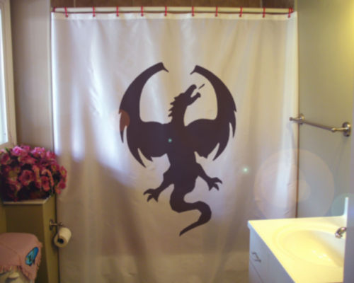 Printed Shower Curtain dragon wings wyrm serpent mythical draco mythology