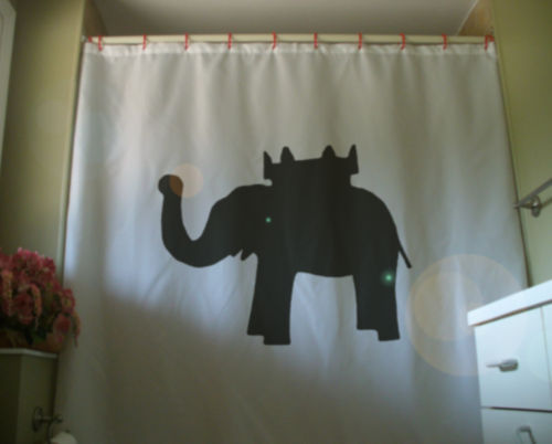 Printed Shower Curtain elephant and castle pub name inn coach England