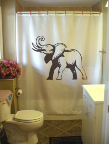 Printed Shower Curtain elephant trumpet trunk tusk ear african nature