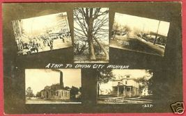 Union City MI Postcard Multi View 1909 RPPC BJs - $75.00