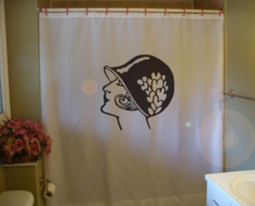 Printed Shower Curtain flapper modern woman cloche bell hat bob 1920s
