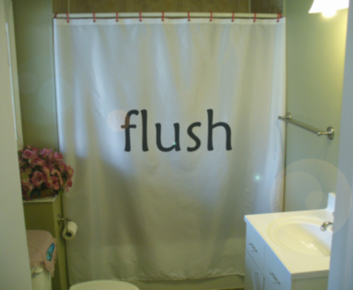 Shower Curtain flush reminder don't forget no surprise