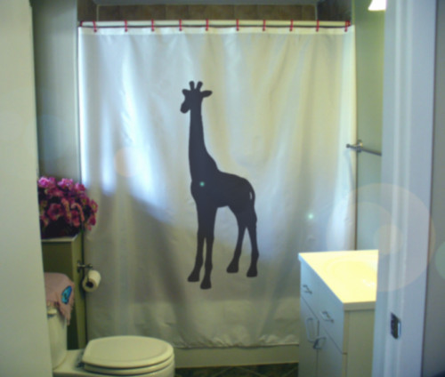 Shower Curtain giraffe long neck mammal Africa savannah