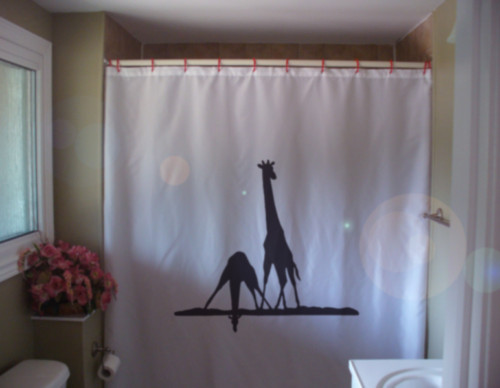 Shower Curtain giraffe pair drink water river in Africa