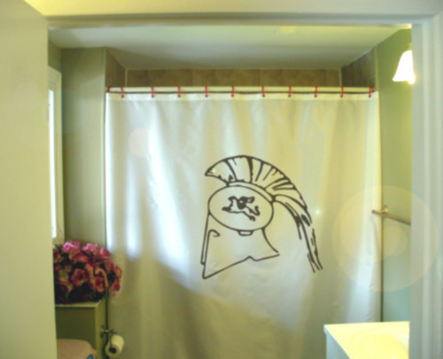 Printed Shower Curtain greek helmet crest ancient Sparta Greece history