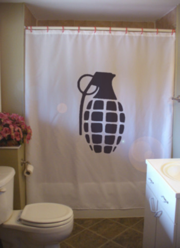 Printed Shower Curtain grenade pin pull war throw hand weapon