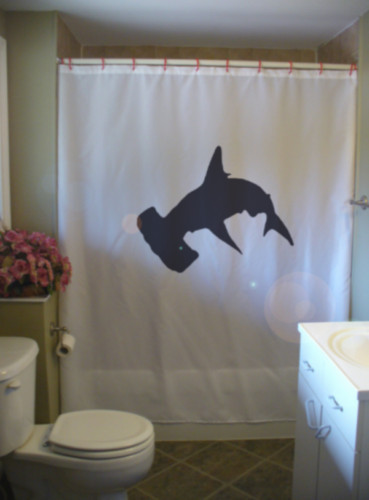 Shower Curtain hammerhead shark ocean fish fin predator
