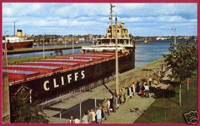 FREIGHTER Cliffs Soo Locks Michigan Ship Postcard