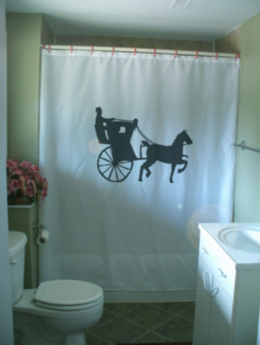 Printed Shower Curtain hansom cab horse drawn carriage safety old fashioned