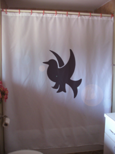 Printed Shower Curtain heraldry bird shield coat of arms wing