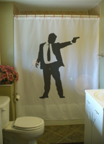 Shower Curtain hit man suit gun mobster mob gangster