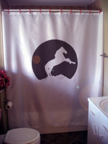 Printed Shower Curtain horse moon silhouette rearing mountain